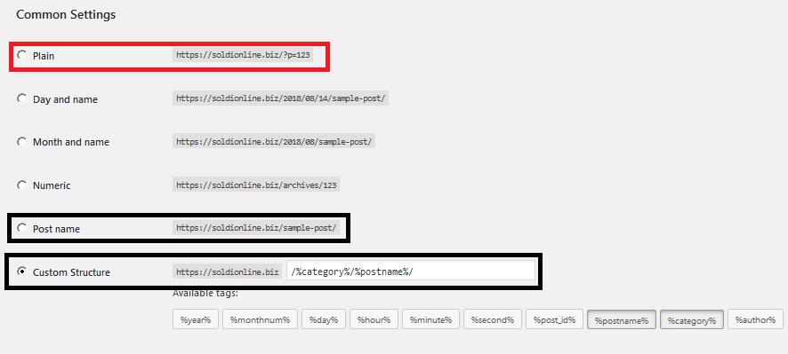 Scegli correttamente l' impostazione dei permalink del tuo sito WordPress